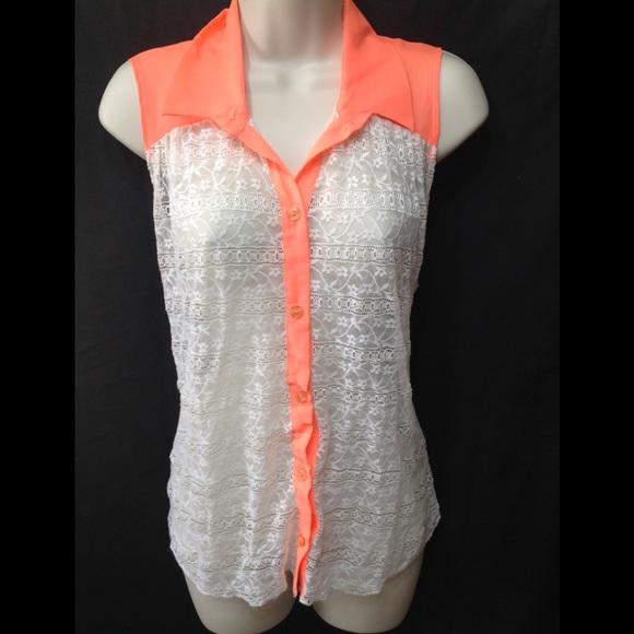 Deb Tops - Women's size Large DEB sheer lace button-down tank